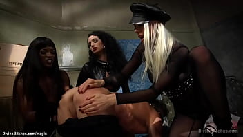Three hot hookers Ana Foxxx and Arabelle Raphael and Lorelei Lee gagging and blindfolding submissive muscle man Lance Hart then pegging him
