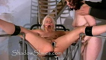 Bizarre prison camp pussy shaving of Little Miss Chaos and cunt whipping of blon