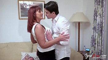 Horny mature lady seduced by younster stud
