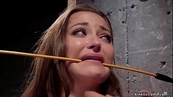 Huge dick assistant Ramon Nomar and master James Mogul hard whipping sexy brunette slave trainee Dani Daniels then curing her form fear of caning