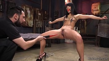 Master rough gags hot brunette beauty and fucks her pussy
