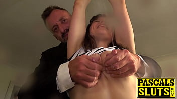 Brunette vixen lactates before BDSM sex