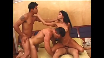 Three bisexual guys love to suck dick and penetrate horny brunette slut Gina Joli