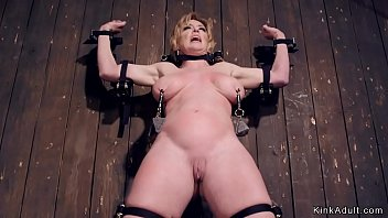 Huge tits blonde Milf sub gets bent and gagged in device bondage till whole body clamped