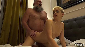 Teenager sucks off grandpa cock she wants to swallow after the hard pussy fuck she got