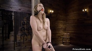 Solo natural blonde_babe masturbates with vibrator then tied and suspended machine fucked in dungeon Thumbnail