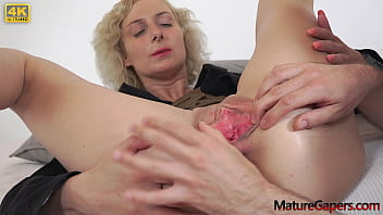 Big-titted horny MILF pussy spreading, gaping and fucking