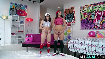 Watch Two tiny brunettes take turns getting ass fucked by a big dick preview