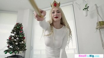 Busty petite blonde rammed hard by a big dude