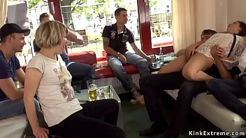 Hairy pussy petite slave Juliette March walked and d. in public streets then in crowded bar fucked by big cock master Steve Holmes and got facial cumshot
