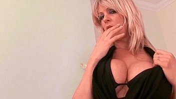 Nasty blonde MILF blows big black dick