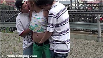 Cute blonde teen Alexis Crystal PUBLIC gang bang threesome