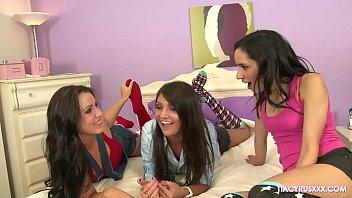 Naughty Lesbian Sleepover With Tia Cyrus, Cassandra Nix & Lola Foxx Thumbnail