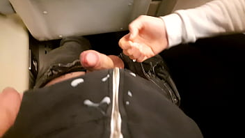 Public Dick Flash in the Train Ended up with Risky Handjob and Blowjob from a Stranger.