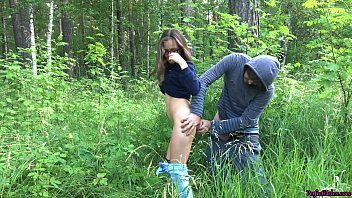 Brunette Blowjob and Passionate Sex Outdoor