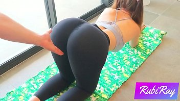 Horny fit babe wants to fuck in her Yoga pants after her stretching session