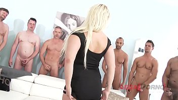 Big butt blondie Bambi Bella needs her holes filled with multiple monster dicks