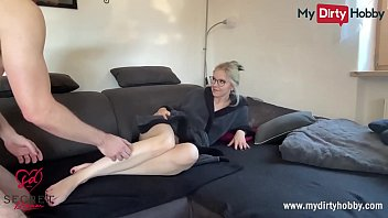 MyDirtyHobby - German blonde amateur with perfect body deepthroatsthebig dick of a fan and gets her face and glasses full of cum