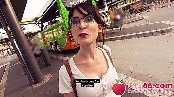 Babe Lou Nesbit ○ with Nerdy Glasses ○ Picked up & Fucked in Public! ▶ Dates66.com