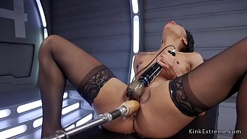 Tiny tits ebony gets fucking machine in wet pussy and makes herself squirting Thumbnail