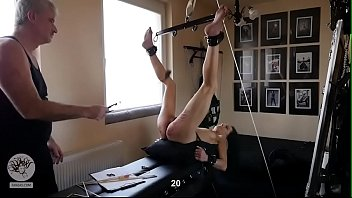 Thin slut punished with clamps and whip