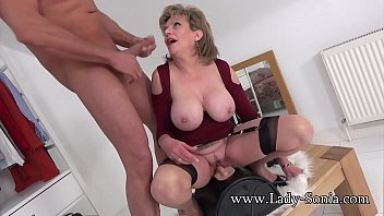 Watch Lady Sonia riding a sybian while sucking cock then gets sprayed with a huge cumshot preview