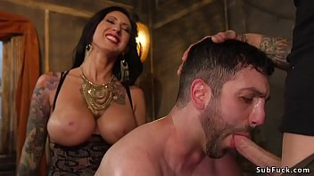 Alt couple a huge tits Lily Lane in fishnet lingerie and her partner Ruckus dominating male slave Jay West and anal gangbang fucking him while wearing chastity