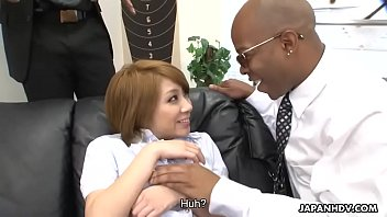 Black dudes toy fucking the Asian sex eager floozy