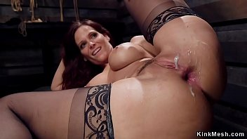 Huge tits redhead MILF slave trainee Syren de Mer in black stockings made by master James Mogul deep throat huge dick to Owen Gray then anal fuck in threesome bdsm training