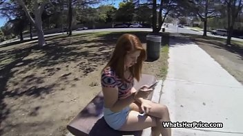 Red head teen from the park gets on cock for money