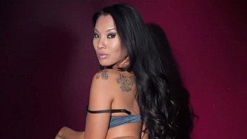 Hot brunette gets nude