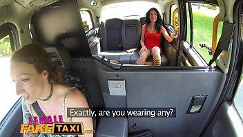 Female Fake Taxi Sweaty hot lesbian bushy pussies finger fucked to orgasm