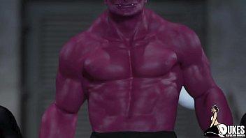 Watch Monster blackmails huge breast superhero preview