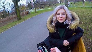 y. gives a blowjob to stranger in the park for some cash and swallows his cum - Eva Elfie
