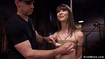 Watch Two masters anal fucking brunette slave and tormenting her nipples preview
