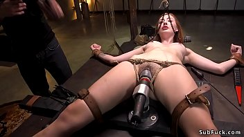 Strapped and laid in eagle spread bondage hot natural redhead slut Megan Winters gets flogged then b. fucked in hairy pussy by big cock master