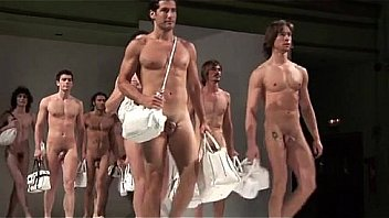 Naked hunky men modeling purses