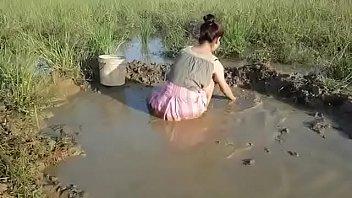 girl in pink skirt mud crawling