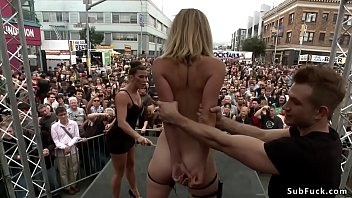 Ariel X makes small tits blonde slave Mona Wales suck cock to Bill Bailey in public restroom then disgraces her at folsom street fair outdoors