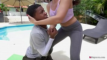 Sexy Step Mom Smothers Young Black Guy via her Tits