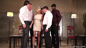 Huge boobs blonde Miss America Rachele Richey in tight dress is stripped and then gangbang fucked and double penetration pounded in various positions