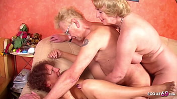 Old Grandpa get First FFM 3Some with his Wife and Redhead Mature