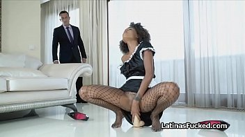 Slutty maid rides a big fat dildo then the house owners cock