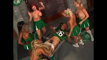 sexy girls in uniform closed the black guy in the locker room and fucked him with strapons