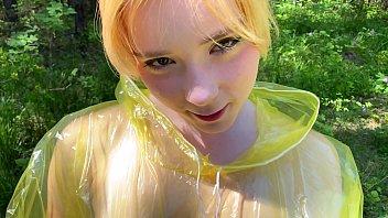 Pvc raincoat fetish girl blowjob