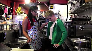 Lusty dyke Penny Barber invites ingenuous teen Alani Pi for casting as  new worker at her coffee bar