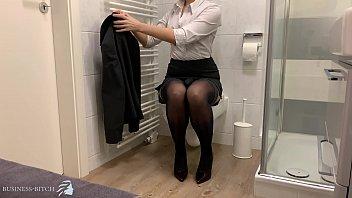 business woman secret dildo ride on the office restroom
