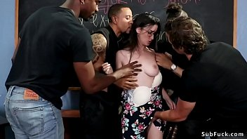 Brunette hottie Lyra Lockhart is tied by her students after class and then interracial gangbang and anal and double penetration banged in classroom