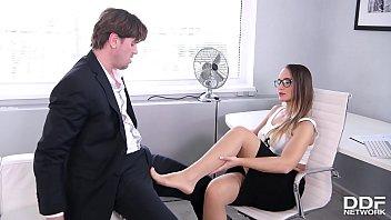 Naomi bennett is a leggy secretary that loves her toes sucked before she fucks