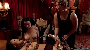 Bound Asian slave Angelina Chung is machine fucked then together with alpha slave Veruca James suck and fuck big dick in bdsm orgy party in the Upper Floor